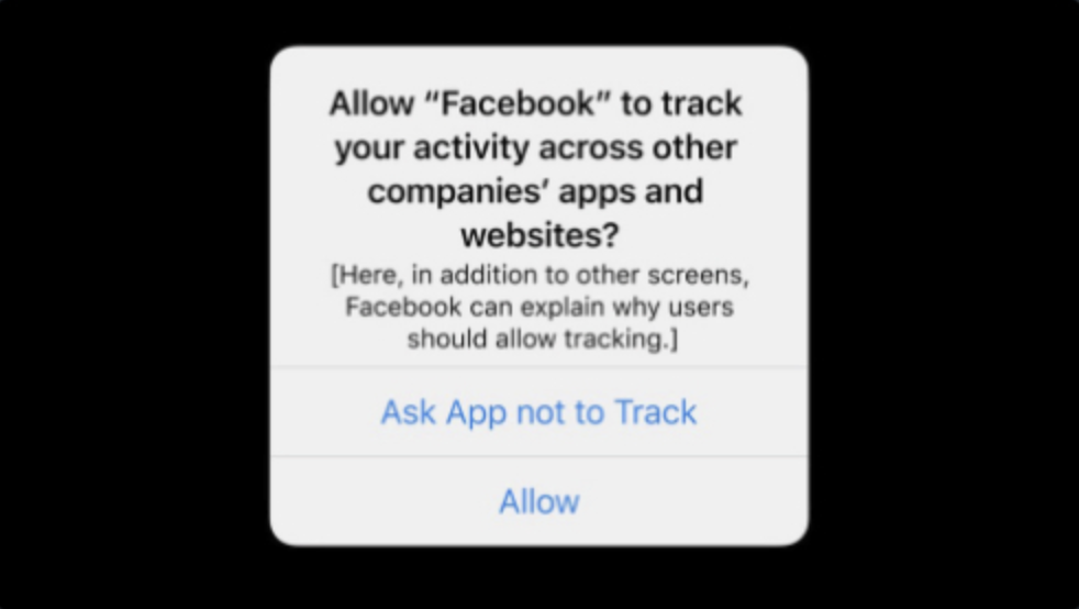 Apple's iOS14 Tracking Transparency Prompt asking permission to track your activity